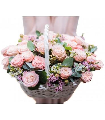 Wiaderko z 25 różowymi tulipanami