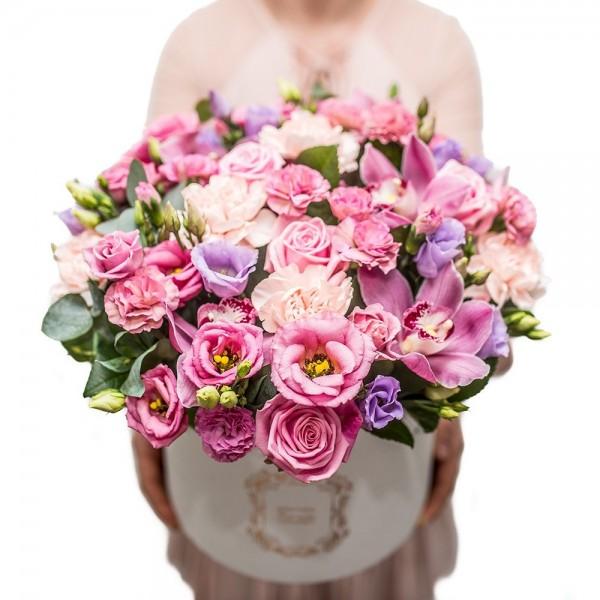 Wiaderko z 21 różowymi tulipanami -10%